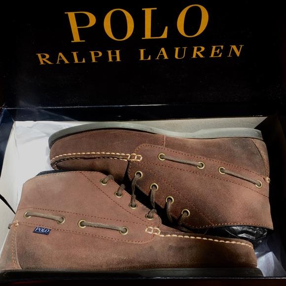 b9b0fd9583f POLO RALPH LAUREN Mens Brwn Oiled Suede Boots 8.5